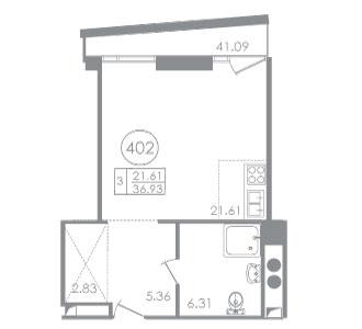 Планировка Студия площадью 37.31 кв.м в ЖК «Вертикаль»