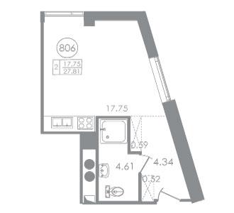 Планировка Студия площадью 25.06 кв.м в ЖК «Вертикаль»